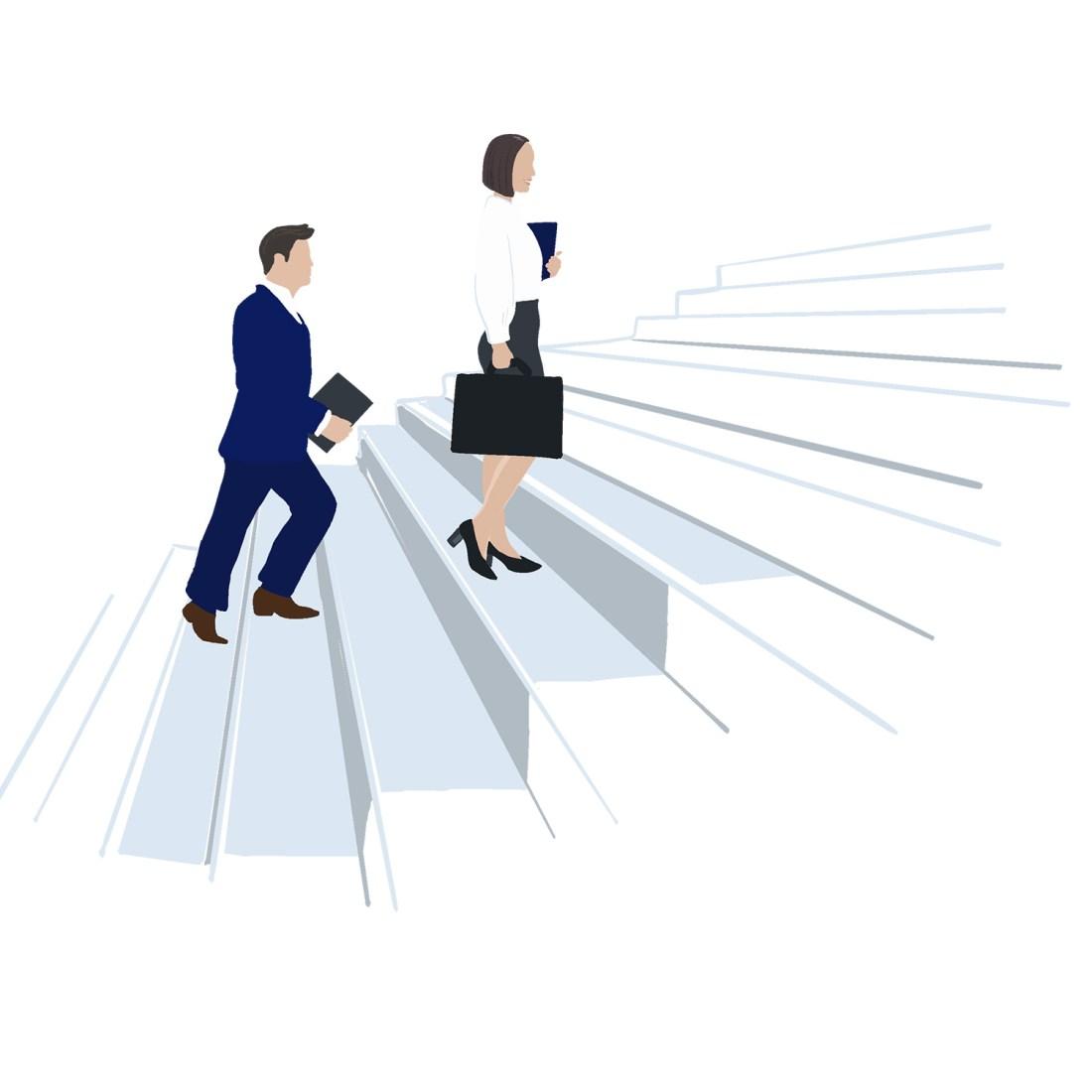 Führungskräfte steigen Treppe Entwicklung von Führungskräften