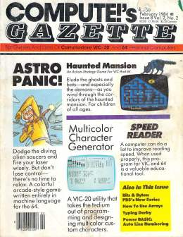 Compute Gazette - Issue 8 - February 1984 - Astro Panic - Speed Reader - Commodore VIC-20 64