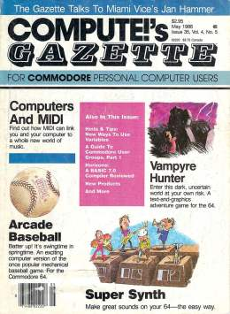 Compute Gazette - Issue 35 - May 1986 - Super Sythn - MIDI - Baseball Commodore VIC-20 64 128 Amiga