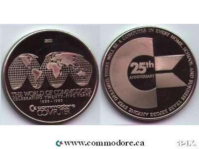 WORLD OR COMMODORE 25 YEAR ANIVERSARY COIN TOKEN: World Of Commodore - Trade Show. There will be a computer in every, home, school and business years before anyone dreamed.