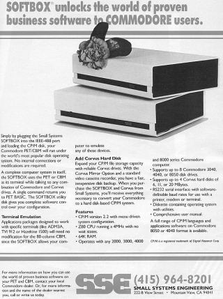 SOFTBOX BY SSE FOR COMMODORE PET / CBM: There were several products like these in the early 80's. They were the core basic building block of what today would be called a LAN (Local Area Network... or now in 2013 just called a Network). It allowed users (typically to a maximum of 8 machines) to share a floppy drive and in the unlikely event a user could afford a hard drive (typically 5MB to 10MB - not GB!) they could share that to. Compute August 1982