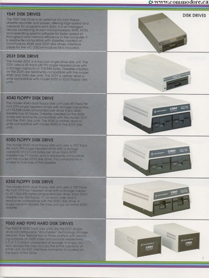 COMMODORE FLOPPY DISKS & HARD DRIVES - 1541 Disk Drive, 2031 Disk Drive (the model shown is actually a 2031LP made with a plastic case - the original and more expensive 2031 has a of steel chassis), 4040 Floppy Disk Drive, 8050 Floppy Disk Drive, 8250 Floppy Disk Drive, 9060 Hard Drive, 9090 Hard Drive