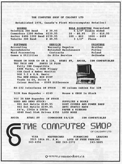 THE COMPUTER SHOP FROM CALGARY ALBERTA - Reported to be the first computer retail store in Canada and possibly the world. It opened in 1976! This advert is from the June 1987 Calgary Commodore Users Group (CCUG) Newsletter and promotes the PET among other items.