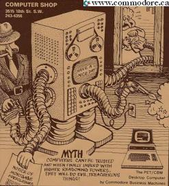 THE COMPUTER SHOP TELEPHONE BOOK COVER ADVERT FROM CALGARY ALBERTA - This store claims to be the first full retail Computer store in the world. It's owner, Austin Hook, still lives in Calgary - Promotes Commodore PET and has a cartoon that predicts many things that have come to pass.