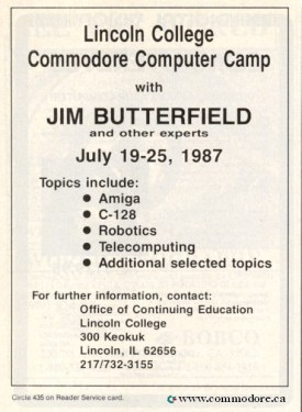 LINCOLN COLLEGE COMMODORE COMPUTER CAMP WITH JIM BUTTERFIELD - Run March 1987