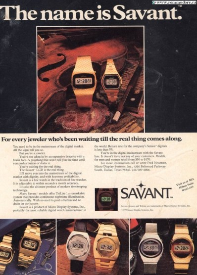 SAVANT WATCHES 1978 - This is an advertisement from just before Commodore bought them and started producing Commodore brand watches