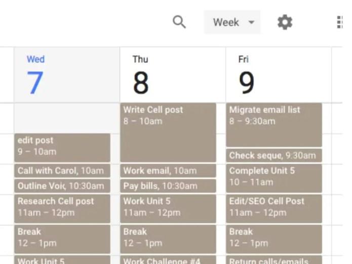 Google calendar example