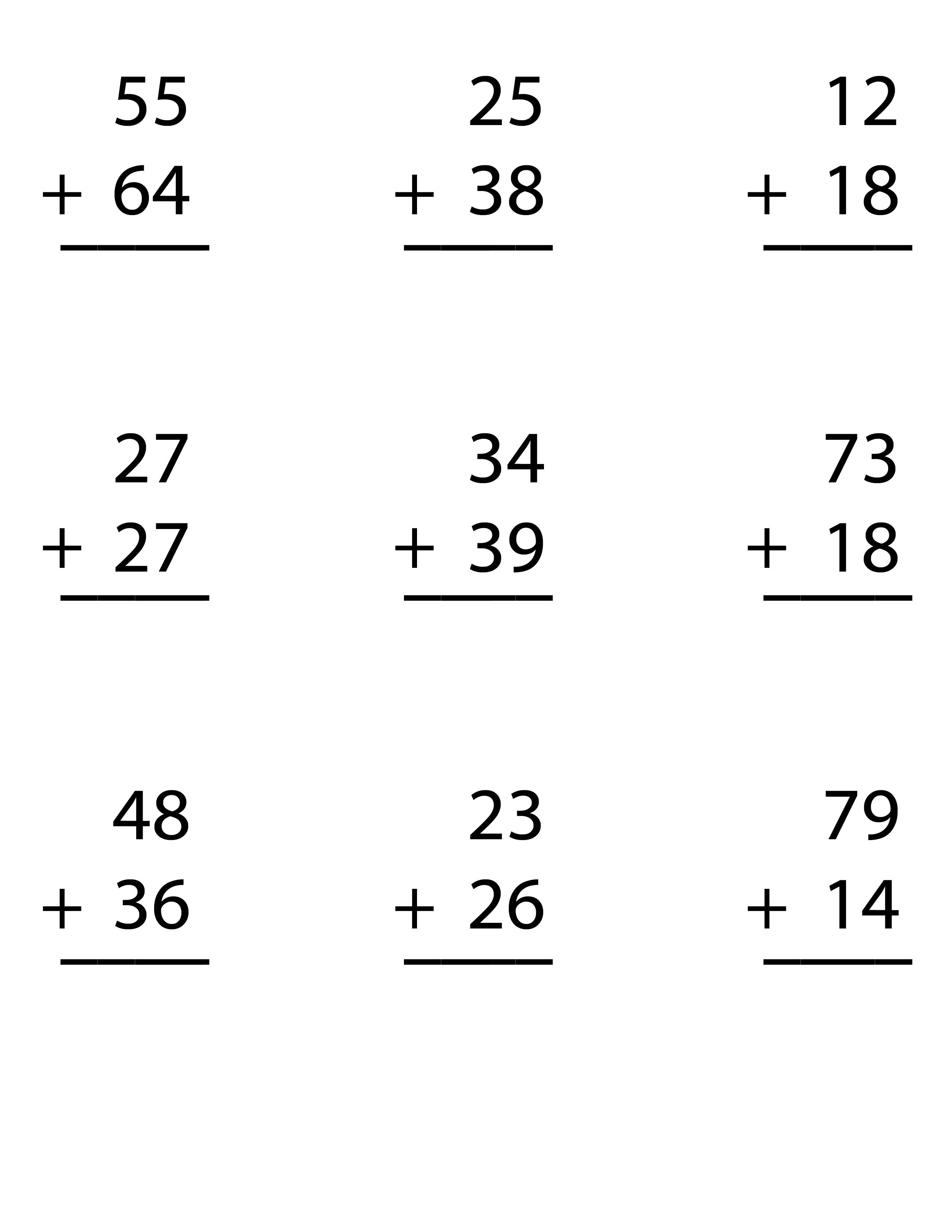 Try Our Free Worksheet For Double Digit Addition