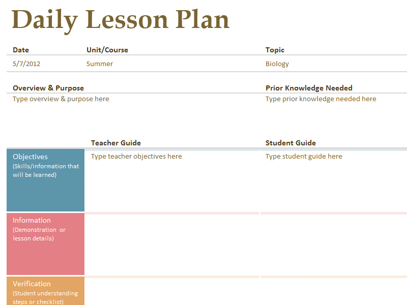one day lesson plan template