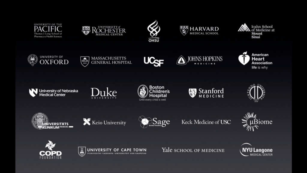 The medical institutes that utilize Apple's ResearchKit framework