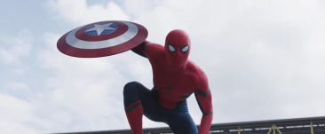 Spider Man steals Captain America's shield