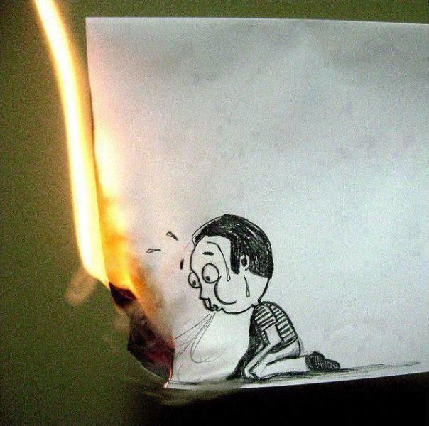 Cartoon Boy Blowing Out Paper Fire