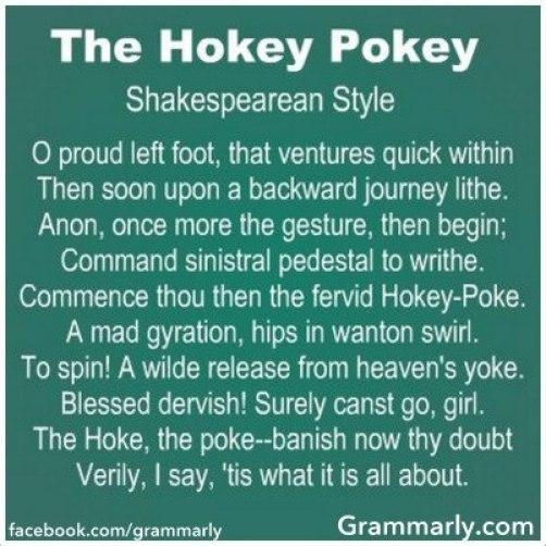 The Hokey Pokey Shakespearean Style