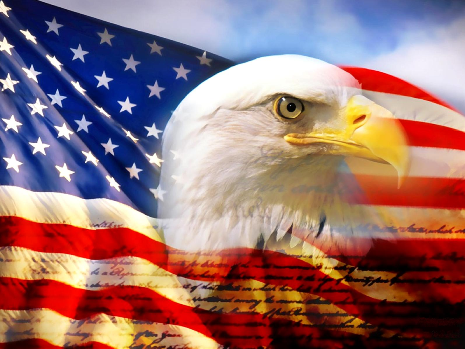 wallpaper of the day: eagle and american flag - common sense