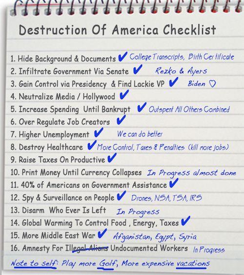 Obama's Destruction Of America Checklist