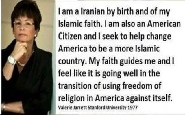 "Obama's Senior Advisor - ""I am a Iranian by birth and of my Islamic faith. I am also an American and I seek to help change America to be a more Islamic country. My faith guides me and I feel like it is going well in the transition of using freedom of religion in America against itself."""