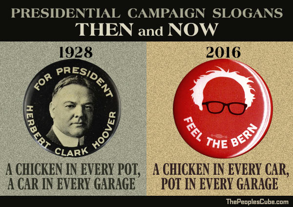 Campaign Slogans Then And Now - In 1928 Herbert Hoover had this presidential campaign slogan:  A chicken in every pot and a car in every garage.  Today's Sanders supporters would be happy with:  A chicken in every car and pot in every garage.