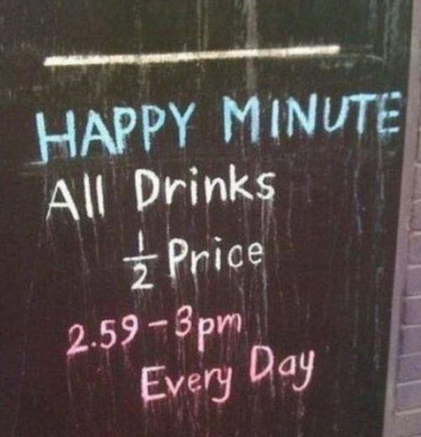 Sign Of The Day: Happy Minute