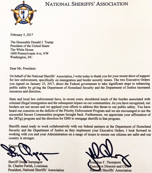National Sheriffs' Association Letter To President Trump