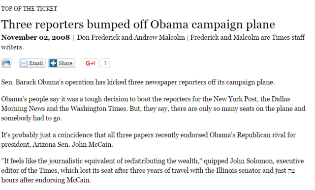 OBAMA Kicked reporters off his plane