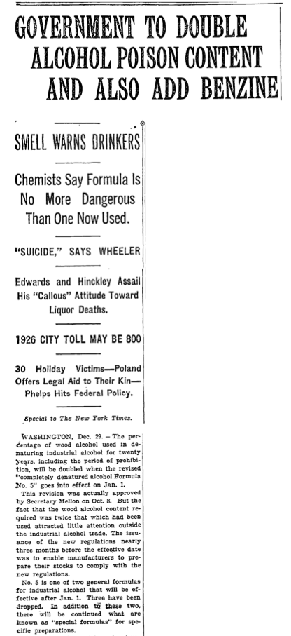 Congress and the White House doubled the amount of methanol in industrial liquor and added benzine to the mix. The poisonous substances were meant to discourage people from drinking bootleg products. (New York Times)