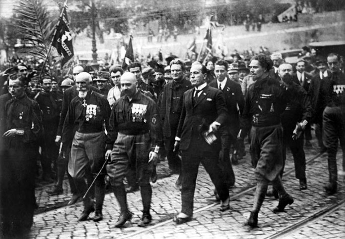 Blackshirts with Benito Mussolini during the March on Rome on 28 October 1922