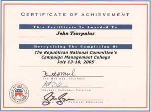 John Tsarpalas certificate of achievement from The Republican National Committee's Campaign Management College.