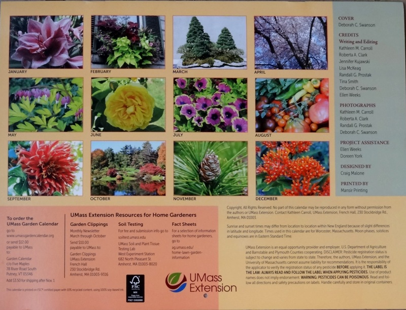 UMass Extension Garden calendar