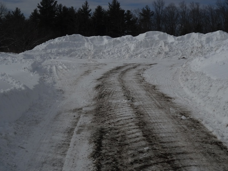 Plowed snowbank at the End of the Road