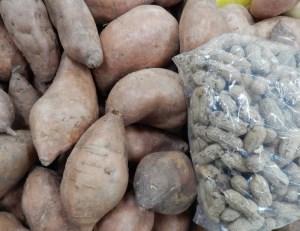 sweet potatoes and peanuts