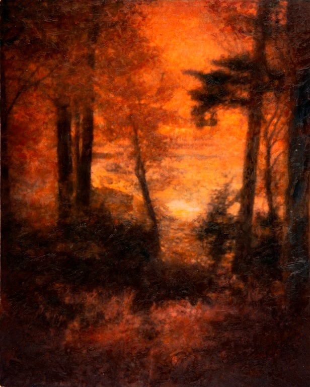 Sunset encaustic painting