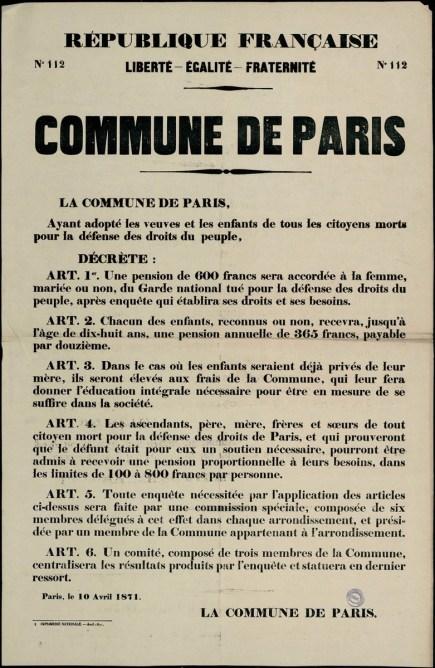 Affiche de la Commune n° 112 du 10 avril 1871 – Décret sur les pensions