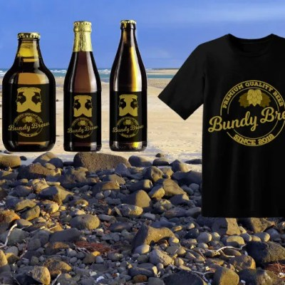 T-shirt-Logo for Bundy Brew, Bundaberg. A mock up to show what design can look like in the real world.
