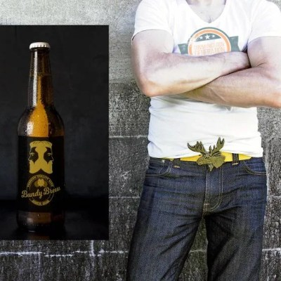 Tough guy with a beer. Communication Generation Bundaberg Brew mock up