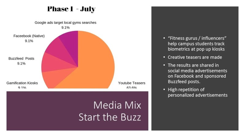Media Mix Phase 1. Phase one uses interactive media to create a combination of high repetition personalised appeals and innovative engagement using online media, social media, outdoor, viral marketing, promotional campaigns, sponsorships/endorsements designed to generate additional earned media. This part uses online ads (Google YouTube, Facebook) to specifically target segments within the greater target audience. By using fitness influencers on YouTube, the campaign seeks to encourage high involvement users to share their experiences of personalized transformation with Guru Fitness app. Fitness gurus arrive at university campuses to track students' biometrics at kiosks and the results make for some engaging creative teasers shared widely. (92 per cent of audience's trust earned media – McStay 2016). Guru fitness registers as a not-for-profit.org to create extra buzz. Source Image: Public Domain (CC0) retrieved 19 September, https://pixabay.com/illustrations/illustration-videogame-graphics-1736462/