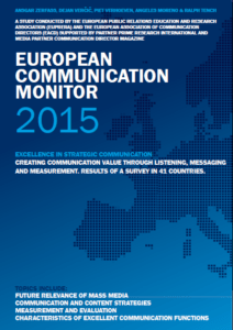 European Communication Monitor Topics 2015 Mass Media Content Measurement Evaluation Excellent Communication Functions