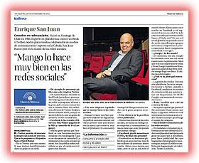 Enrique san juan es entrevistado sobre redes sociales facebook y twitter en el Diario de Mallorca