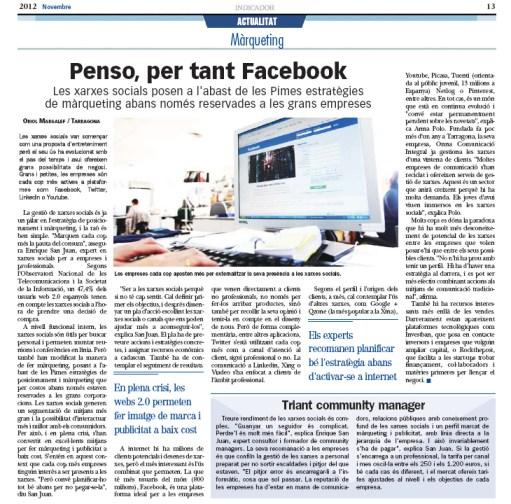 Pienso por tanto Facebook diario Indicador de Economia redes sociales social media
