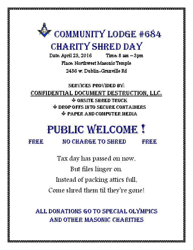 Community Lodge Shred Day Flyer