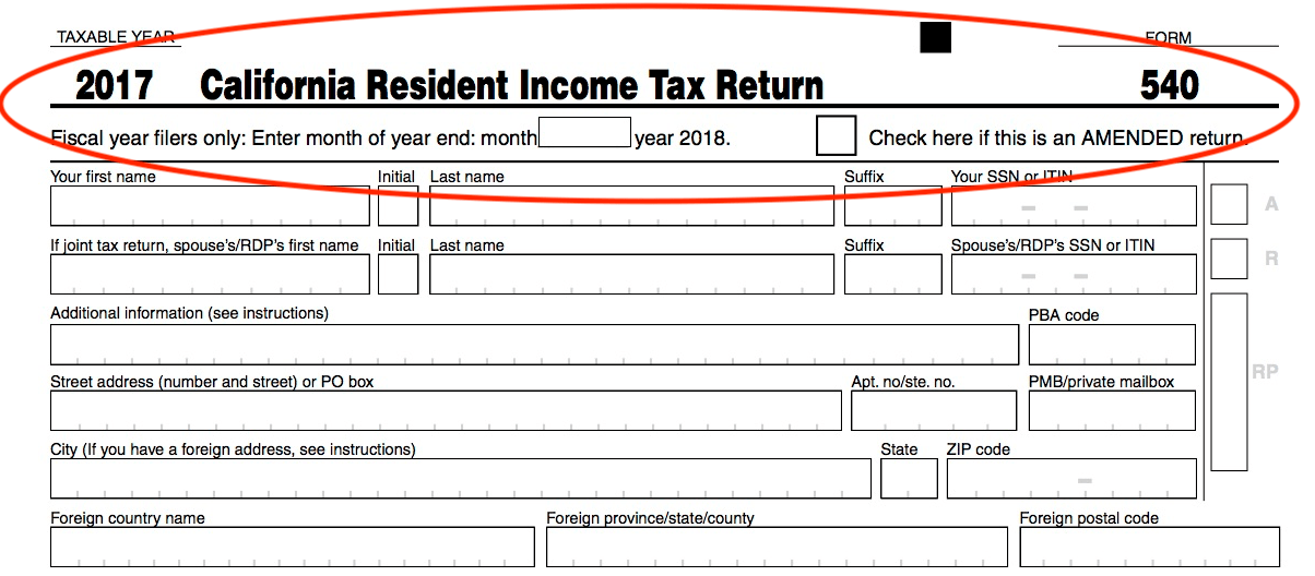 Irs Form 540 California Resident Income Tax Return