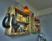 Rustic wooden shelving