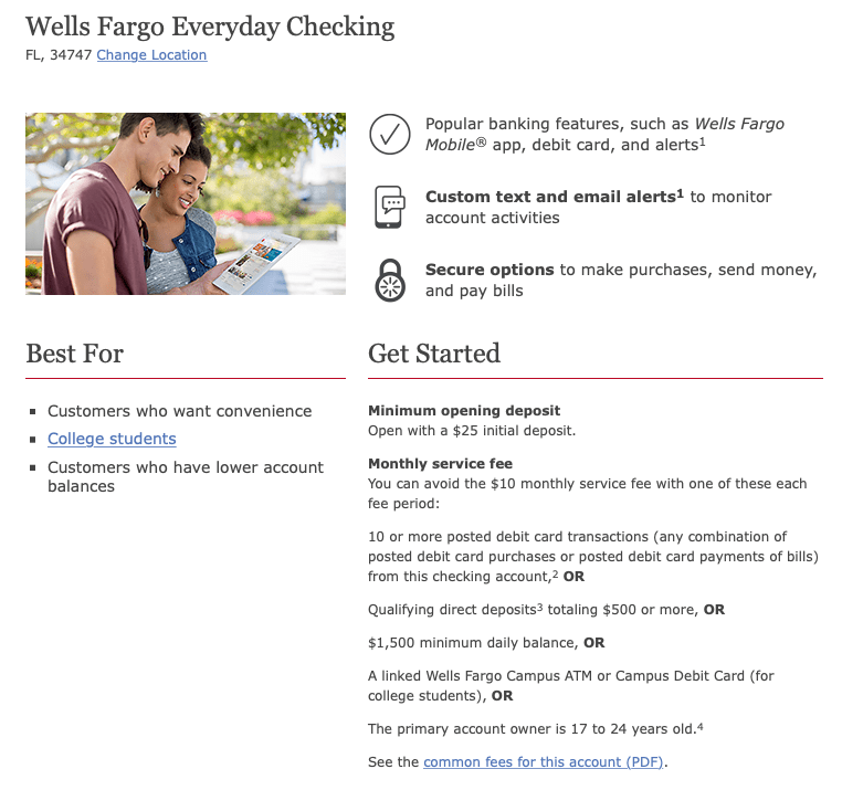 Wells Fargo Checking account
