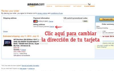 cambiar la direccion de una tarjeta comprar en amazon