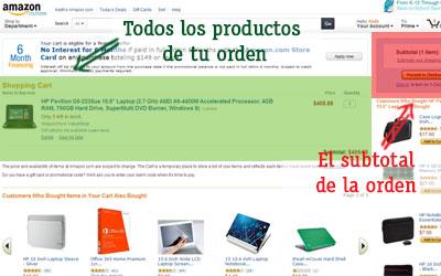 como comprar en amazon el subtotal de la orden y los productos de compra