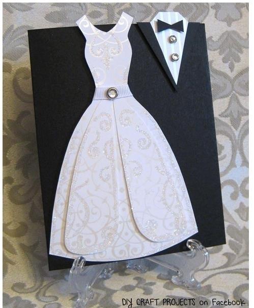 Como hacer invitación de boda con forma de vestido y traje?