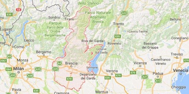 Mapa provincia de Brescia ruta en coche