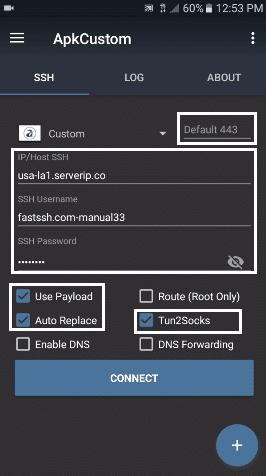 configurar y conectar apk custom vpn android