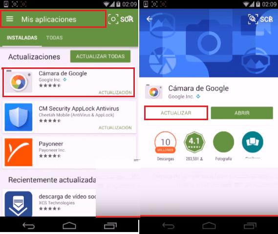 reparar app camara android actualizar
