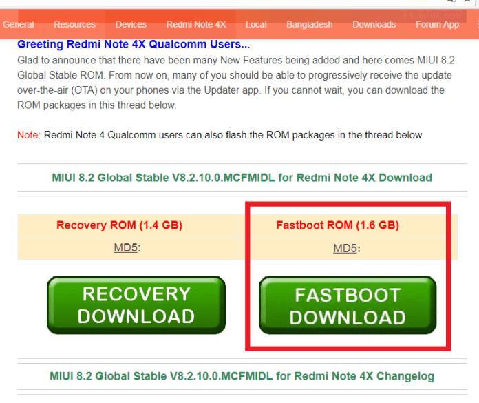 rom fastboot Flashear Xiaomi redmi note 4X