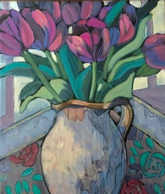 Tulips on Tapestry by Lynne Sweetman